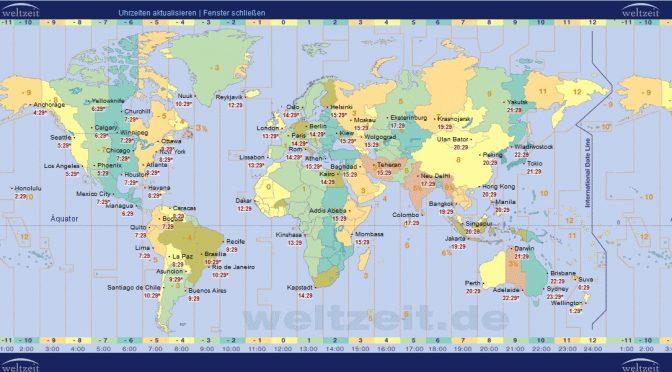 Weltkarte der Zeitzonen